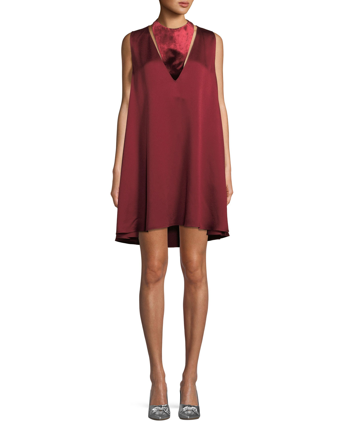 Sleeveless Hammered Satin Dress with Velvet Neck