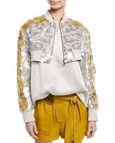 Cropped Zip-Front Sequin Paillette Jacket