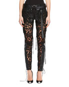 Leather & Lace-Paneled Pants