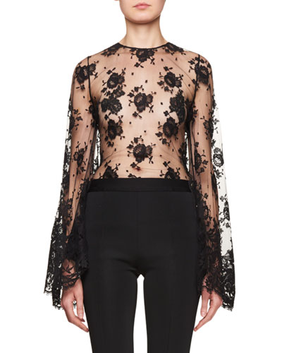 Sheer Lace Bell-Sleeve Blouse