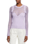 Round-Neck Textured Crochet Knit Top