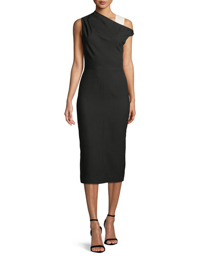 One-Shoulder Wool Midi Sheath Dress