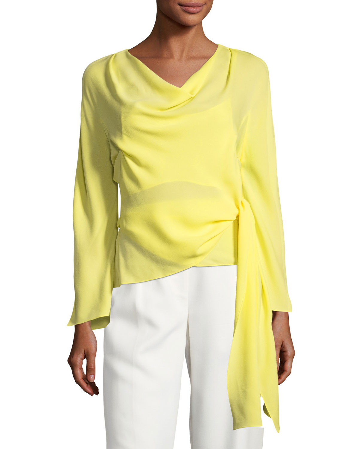 Cowl-Neck Wrap Silk Blouse