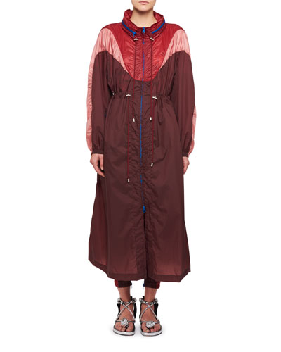 Rumbery Colorblock Nylon Parachute Trench Coat