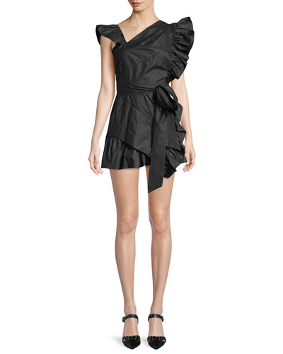 Malvern Asymmetric-Neck Side-Ruffle Cotton Mini Dress