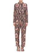 Xulia Long-Sleeve Belted Printed Straight-Leg Jumpsuit