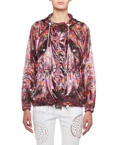 Olaz Hawaiian-Print Sheer Pullover Hooded Anorak Jacket