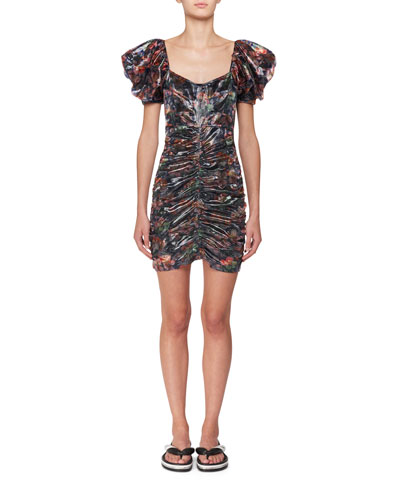 Oxalis Hawaiian Puffy-Sleeve Ruched Mini Dress