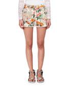 Rewyn Hawaiian-Embroidered Eyelet Shorts