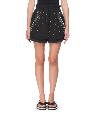 Paperbag-Waist Cotton Shorts with Studs & Grommets