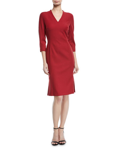 V-Neck 3/4-Sleeve Wool Dress with Flounce Hem