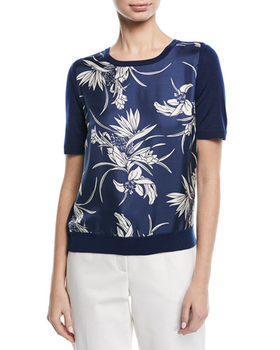 Short-Sleeve Floral-Print Silk Front & Knit Back Pullover Top