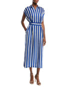 Cap-Sleeve Silk Satin Striped Midi Dress