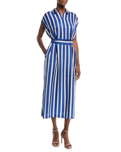 Cap-Sleeve Silk Satin Striped Midi Dress