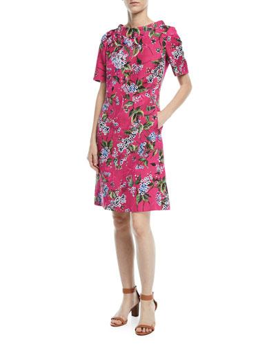 Elbow-Sleeve Floral-Print Jacquard A-Line Dress