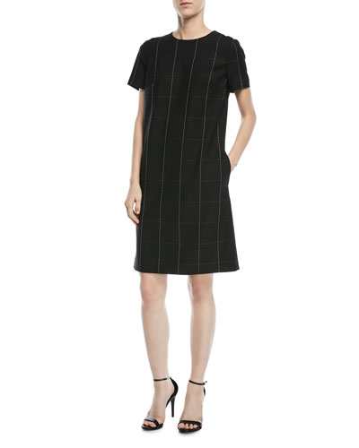 Grid-Stitch Short-Sleeve Chemise Dress