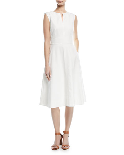Sleeveless V-Neck Fit-and-Flare Cotton Pique Midi Dress
