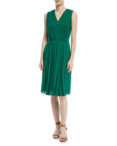 V-Neck Sleeveless Pleated Silk Dress