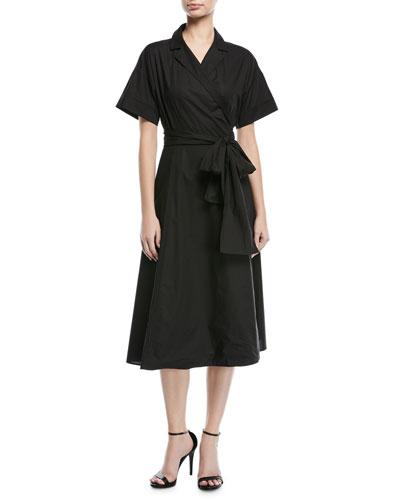 Short-Sleeve Cotton Poplin Wrap Dress
