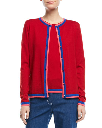 Crewneck Button-Front Long-Sleeve Wool Cardigan