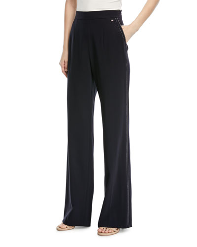 Tiketanatus Wide-Leg Wool Pants with Side Zip