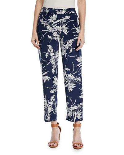 Tullula Tropical-Print Straight-Leg Silk Pants