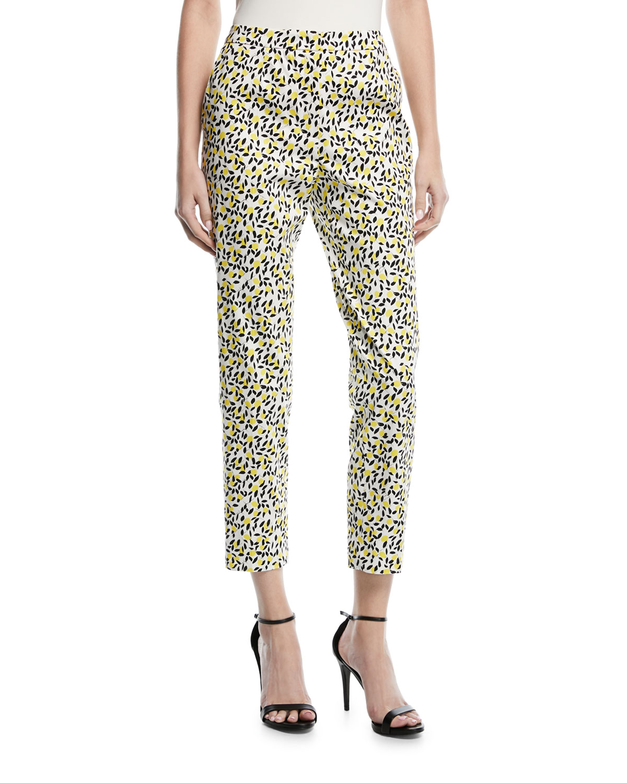 Mid-Rise Straight-Leg Lemon-Print Ankle Pants
