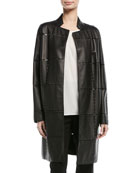 Laser-Grid No-Close Lamb Leather Jacket