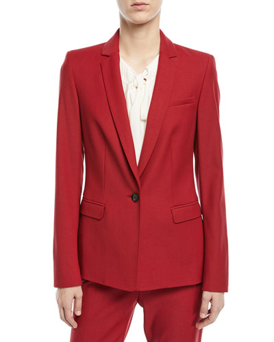 Notch-Lapel One-Button Tailored Wool-Blend Blazer