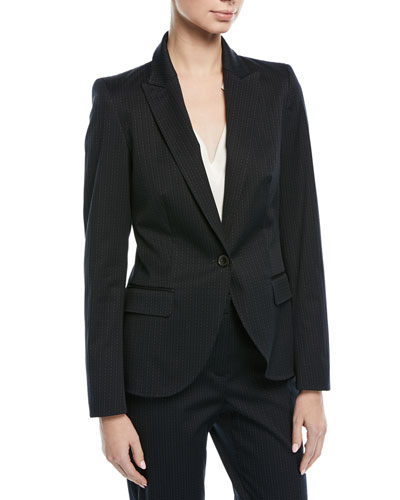 Broken Pinstripe One-Button Jacket
