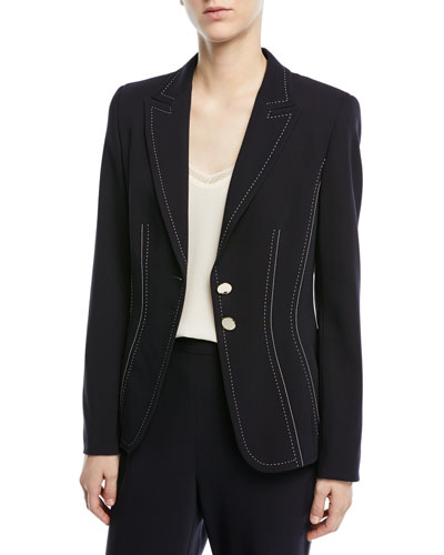 Two-Button Stretch-Wool Blazer