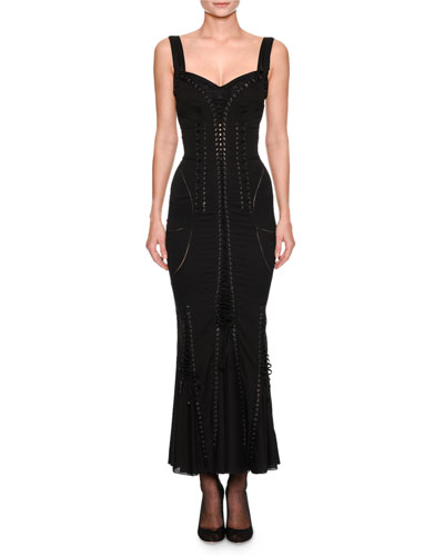 Sweetheart-Neck Sleeveless Corset-Style Cocktail Dress