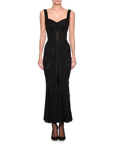 Sweetheart-Neck Sleeveless Corset-Style Cocktail Dress