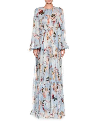 Long-Sleeve Cherub-Print Chiffon Jumpsuit