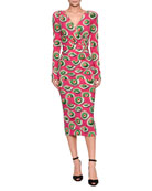 Long-Sleeve V-Neck Pastry-Print Silk Midi Dress
