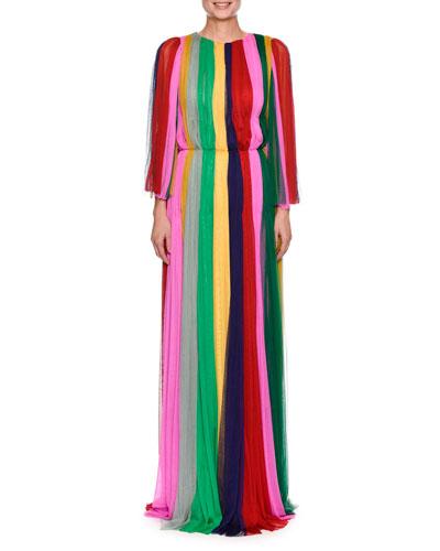 Long-Sleeve Rainbow-Striped Chiffon Gown