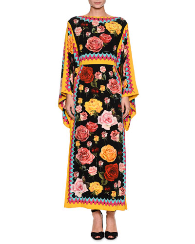 Long-Sleeve Floral-Print Silk Ankle-Length Dress