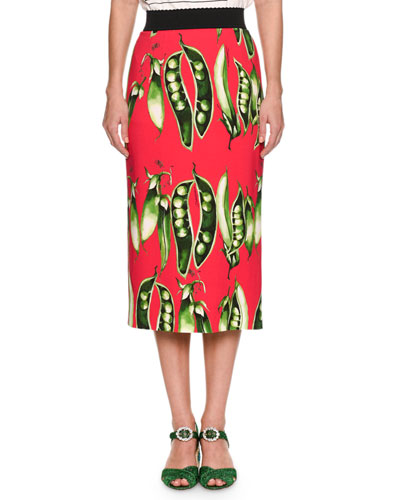 Snap-Pea Printed Turbo Pencil Skirt