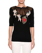 Short-Sleeve Cherub-Embroidered Sweater with Tulle Inset