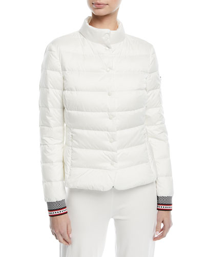 Fair-Isle Snap-Front Quilted Puffer Jacket