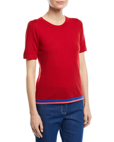 Crewneck Short-Sleeve Virgin Wool Top with Contrast Trim