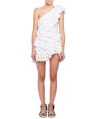Zeller One-Shoulder Tiered Ruffle Crochet Lace Mini Dress