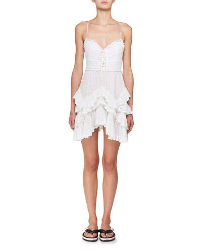Zowie Deep-V Sleeveless Crochet Lace Mini Dress