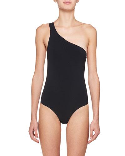 Sage One-Shoulder Open-Back Bodysuit