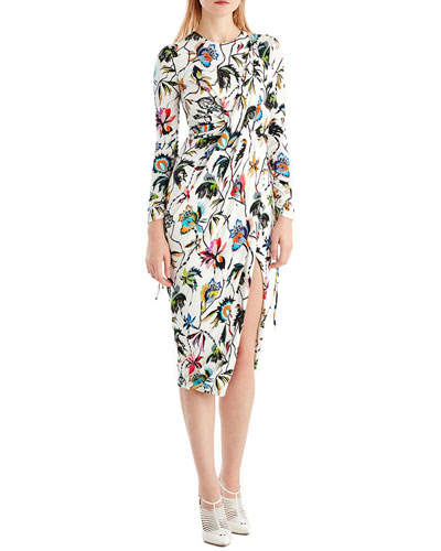 Drawstring-Sleeve Floral-Print Jersey Day Dress w/ Slit