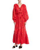 Long-Sleeve Tie-Front Embroidered Linen Maxi Dress