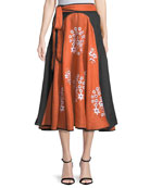 Spanish-Pigeon Belted Full A-Line Linen Midi Skirt