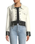 Button-Front Leather Moto Jacket with Buckle-Hem