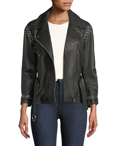 NOUR HAMMOUR JOAQUIN BELTED LEATHER MOTO JACKET WITH STUDDING