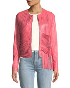 Retrograde Leather Fitted Jacket with Draped Fringe